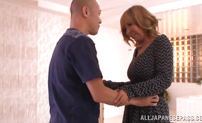 Goluptious big titted mature perfection Yume Mizuki can't resist mate dick and begins riding him
