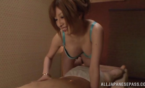 Mesmerizing maiden Reira Akane with giant tits widens her legs for hardcore slamming