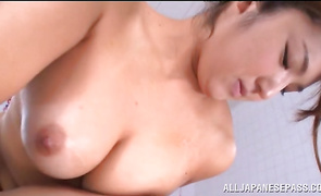 Prurient big breasted maiden Shiori Kamisaki seems ready and eager for an pussy plowing