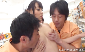 Luxurious bosomed mature Mao Hamasaki is swallowing his knob whole and loving it