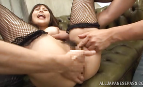 Charming big boobed mature Rion Nishikawa has her angel pussy stretched by a large cock
