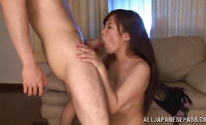 Lusty busty mature cutie Karen Saijyou gives a naughty oral-sex