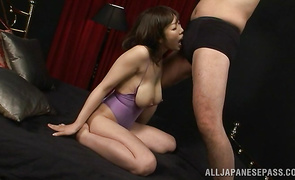 Lovely big breasted mature Minako Kahara surrenders to this male easily