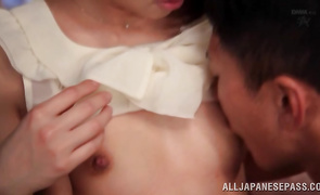 Pungent Riri Shiina is whimpering on her fellow's hard boner