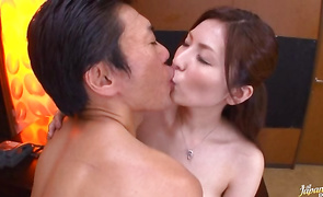 Racy older Yuna Shiina pumps her taco on a stiff boner