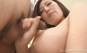 Foxy slut Yuna Shiina with curvy tits and her man chap have a wild fuck session