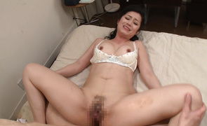 Engaging mature bombshell Hisayo Nanami with round tits bounces on overweight long sword