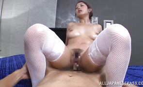 Pretty sweetie Satomi Suzuki with large tits and her strong playmate spread their meaty asses