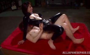 This gorgeous maid Shoko Akiyama takes this wang into fanny even if she is small