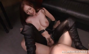 Delightful busty mature redhead cutie JULIA gives a intense oral-service to her brutal stranger