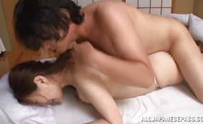 Luxurious Kiriko Kasumi sucks penis on a sports field