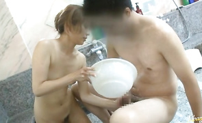 Shameless older Maomi Nagasawa cant hold herself back when she sees a rock hard sausage