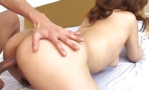 Frisky big breasted girl Mina Nakano is gently licking mate's packing monster to make it hard enough for her pussy