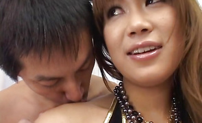 Beguiling busty beauty Runa Sesaki gives a oral pleasure job