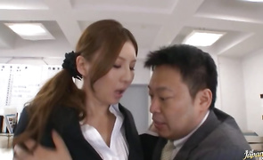 Attractive Yui Tatsumi with impressive tits receives a large schlong in her tight pussy