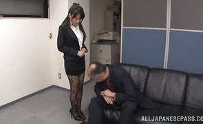 Playful older Arisa Misato fiercely sits on a hard penis
