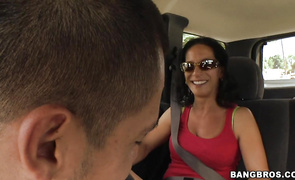 Romantic glamor brown-haired girlie Melissa Monet is having a 1st fuck session with her fucker