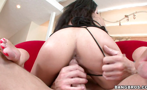 Sultry bosomed older japanese bimbo Rio Lee assumes the position where she gets plowed hard