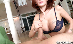 Betwixt slender red-haired Joslyn James and playmate sex is always electrifying
