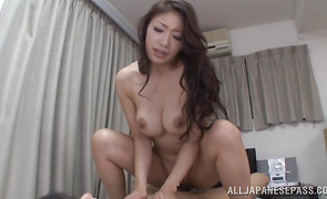 Nasty Reiko Kobayakawa with firm tits got her perfectly hairless tang stuffed from the back until it got creampied