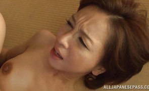 Charming older girlie Kumi Kanzaki gets her pussy pounded in close up