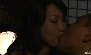 Striking whore Reiko Yamaguchi is playing with her love muffins while buddy is fucking her