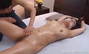 Glorious Miki Sato with huge breasts smiles to the camera while riding a firm shaft