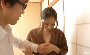 Overwhelming Miku Asaoka lets guy taste her soft nipples and moist tang