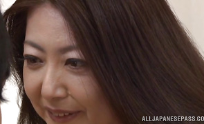 Naughty bosomed sweetie Ayano Murasaki gets on her knees to suck a cock