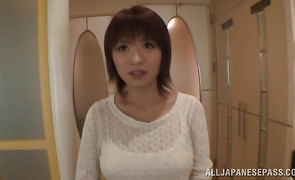 Gorgeous Rika Hoshimi poses previous to toying her sweet love tunnel