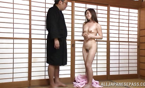 Bawdy Mika Matsushita keeps her hat on while being drilled