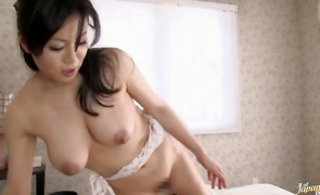 Prurient cougar Miki Sato with round tits gives her experienced bf an intense oral-service