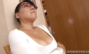 Frisky mature gf Emiko Ejima with large tits is ready for some intense and wild act