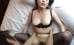 Cute mature Hazuki Takashima with attractive tits puts a dick in her wet and sexy mouth