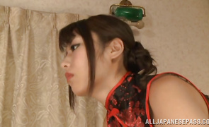 Lascivious cougar Ayu Sakurai got down on her knees in front of her man and gave him a nice irrumation