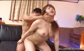 Sultry mature lady Shiori Kamisaki with impressive tits rides a wang after giving a kinky footjob