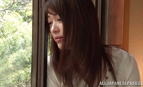 Sassy cougar Akari Hoshino is sucking a dangler like a pro and getting drilled doggy style