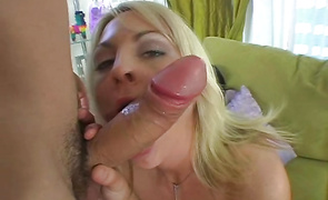 Classy lady Sindy Lange is gently sucking fucker's schlong previous to getting fucked very hard